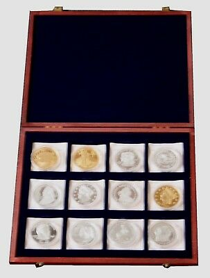 Selection of 12 Silver and Gold Plated Copper US Medallions In Presentation Box