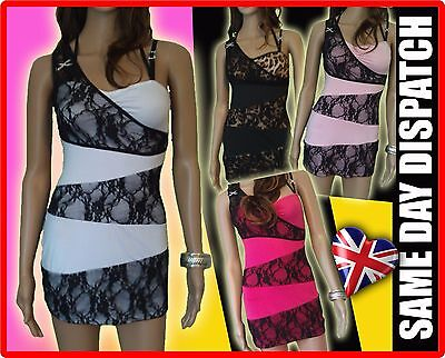 Sexy Black White Lace pink Mini Dress CLUBBING PARTY CLUBWEAR LBD HOT
