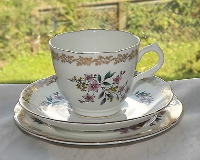 Royal Grafton Fine Bone China Trio Cup Saucer Plate Floral Sprays 1950s