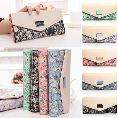 Floral Womens Fashion Clutch Leather Handbag Lady's Bowknot Wallet Coin Purse