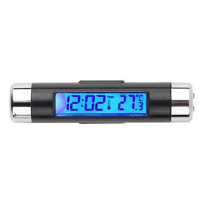 1x Car 2In1 Air Vent Clip-on Electronic Clock Time Thermometer LED Backlight GL