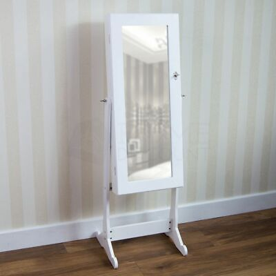 Nishano Chevel Floor Standing Jewellery Cabinet Mirror Storage Large White