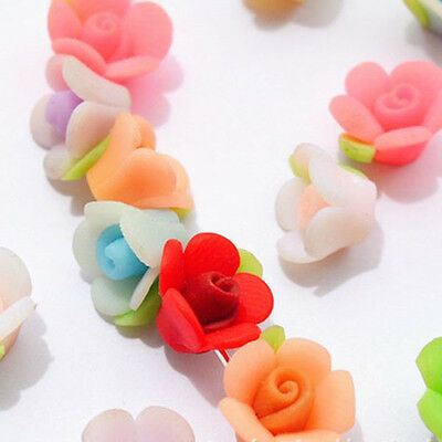 Charming!10mm Pretty Mixed Polymer Fimo Clay Flower Spacer Loose Beads