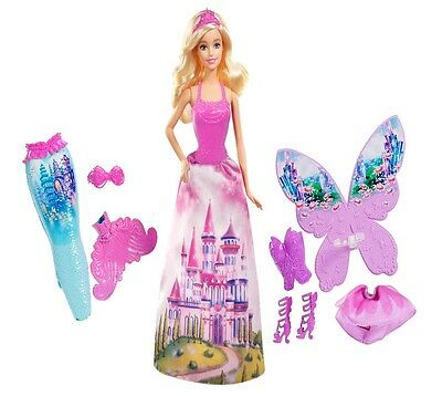 New Beautiful Barbie Fairytale Dress Up Doll With Three Outfits Girl Toy Gift