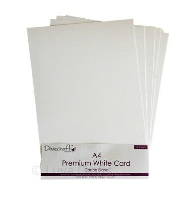 10x Dovecraft A4 Premium White Card Pack - 240 grams - Acid Free - Smooth Finish