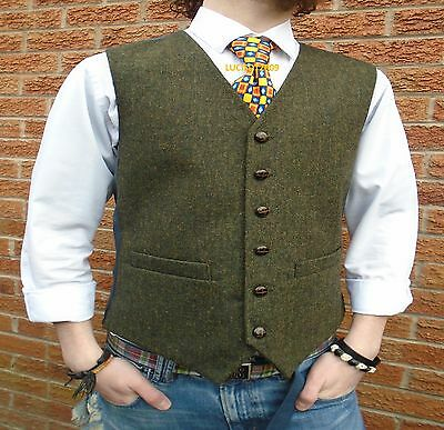 Mens  Wool Tweed Waistcoat Vest Donegal Style Sizes S M L Xl Xxl Xxxl Xxxxl