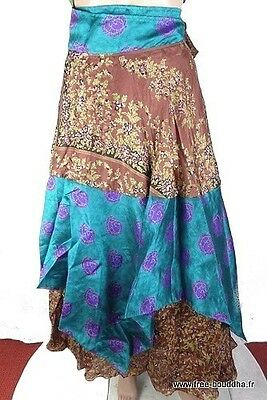 Jupe Indienne Turquoise  Hippie  Boheme Babacool Soie Maxi Skirt  34/40  As213