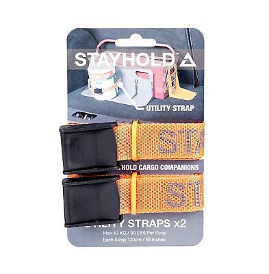 Stayhold Utility Straps Two Pack Orange Car Boot Trunk Cargo Organiser Storage