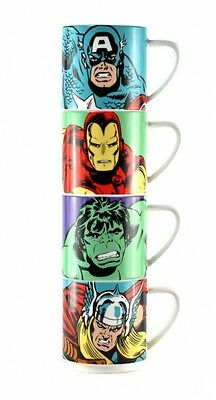 Marvel Comics  Stacking Mugs Set Of 4 Ceramic Action Heroes Official Product