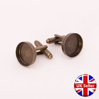 Antique Bronze Cufflink Setting Blanks Fits 16mm Cabochon [20 pieces]