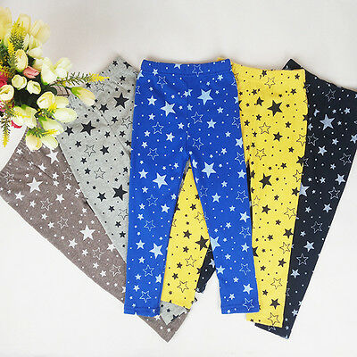 Star Printed Baby Kids Girls Warm Winter Stretchy Leggings Trousers Tight Pants