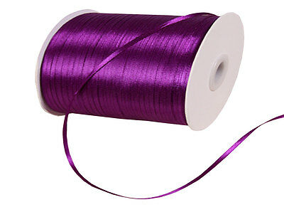 3mm DARK PURPLE Double Sided SATIN RIBBON 3mm 6mm 10mm 25mm Various Colour