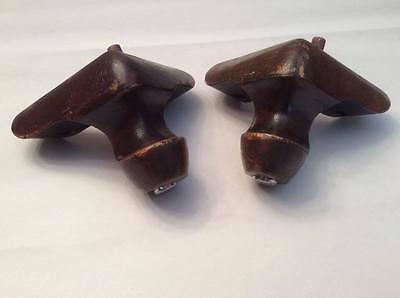 2 Vintage Wood Wooden CORNER Furniture Legs Replacement or Pattern Use