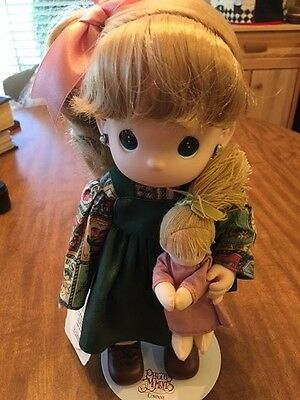 """Precious Moments Birthday Blessings Series, """"october"""" Doll Holding Baby #1360"""
