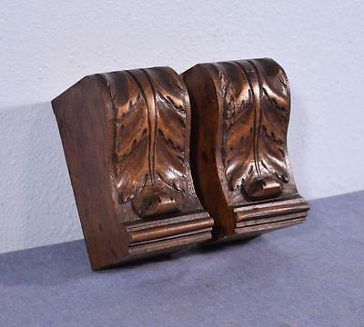 "*Pair of 5"" French Antique Trim Pieces in Walnut Wood Corbels/Pillars/Brackets"