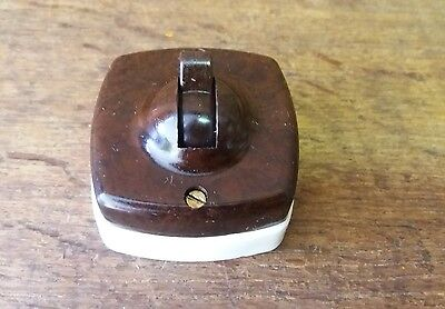 Architectural Re-claimed Art Deco Bakelite & Ceramic Vintage SQUARE Light Switch