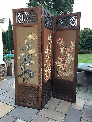 Antique oak and embroidered screen
