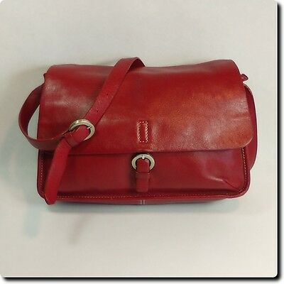 Red Wilsons Leather Pelle Studio Front Flap Bag With Buckle