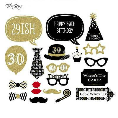 20pcs 30th Birthday Party Photo Booth Props Kit Favour Moustache Photography DIY