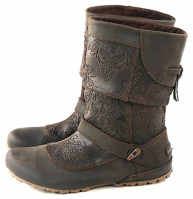 Merrell Women's Haven Pull No Slip Mid Calf Leather Boot Brown Leather Size 6.5