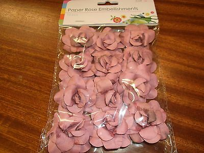 1 Pack Of Paper Rose Embellishments With Wire Stem 2 Colours To Choose From