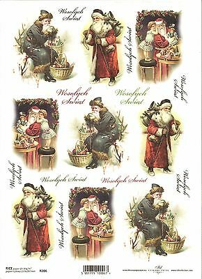 Rice Paper for Decoupage Scrapbooking, Christmas Vintage Santa Claus ITD R206