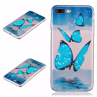 iPhone 7+ / 8+ PLUS - Soft TPU Gummy Rubber Slim Case Cover Clear Blue Butterfly