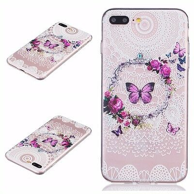 iPhone 7+ / 8+ PLUS - Soft TPU Gummy Rubber Slim Case Cover Clear Butterfly Lace