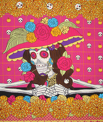 Day Of The Dead Catrina Sugar Skull Fabric Runner Dia De Los Muertos Calaveras