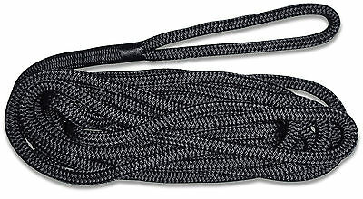 16mm x 10m Mooring Line Dock Rope: Nylon Core w/ Polyester Cover - Solid Black