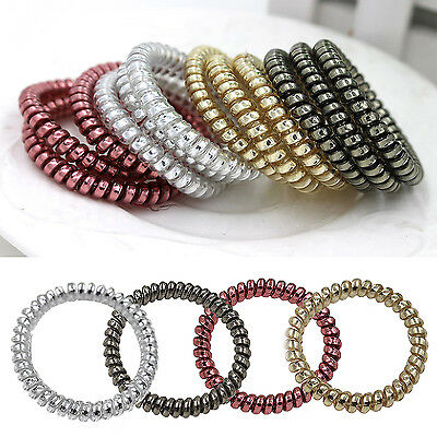 WO 5pcs Gold/Silver Elastic Rubber Telephone Wire Hair Bands Ponytail Holder