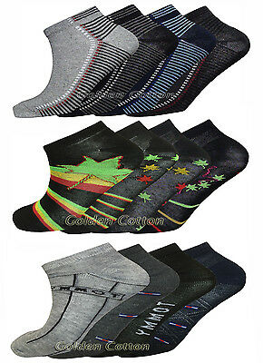 Mens Cotton Trainer Designer Socks Liner Ankle Socks 3 6 & 12 Pairs Pack