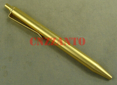 Collectible Top button click totally Solid brass ball point pen with clip