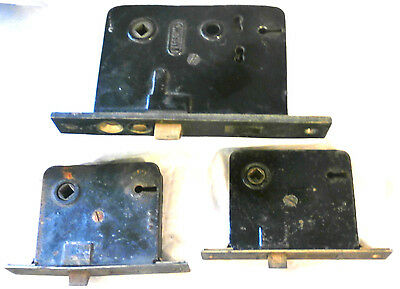 Lot of 3 Antique Door Motise Locksets for Skeleton Keys; Japanned Iron & Brass