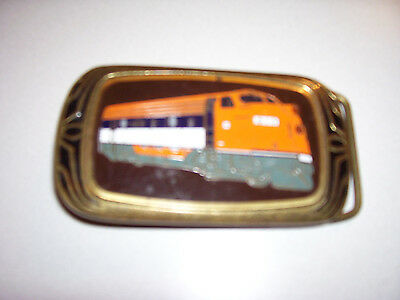 Vintage  Solid Brass  - Belt Buckle -Train Locomotive - 1983 - Nap Inc