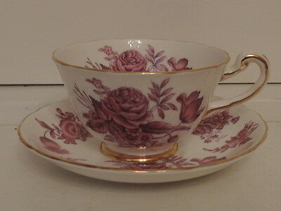 Vintage Royal Chelsea Purple Roses Gilt Cup & Saucer Fine Bone China Teacup