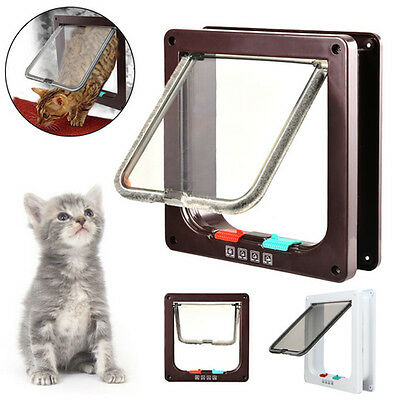 4 Way Locking Lockable Pet Cat Small Dog Flap Door White Brown Frame S/M/L Size