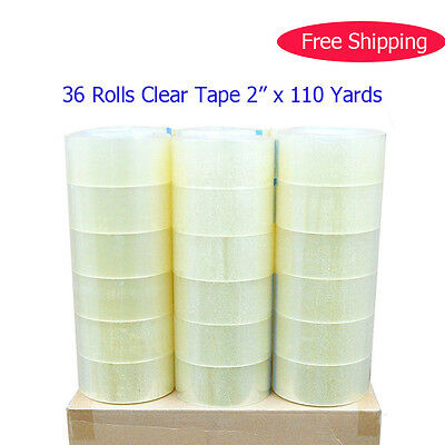 "36 ROLLS CLEAR PACKAGING CARTON TAPE 2 MIL THICK 2"" x 110 YARDS SEALING PACKING"