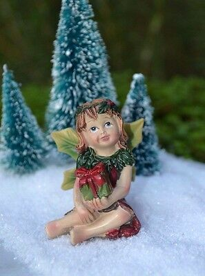 Miniature FAIRY GARDEN ~  Winter CHRISTMAS Fairy Girl Figurine with Present