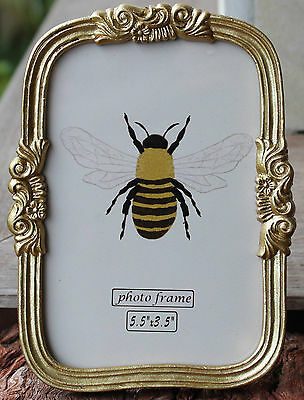 """Vintage  Style Small Gold   Photo Frame   ( 5 1/2   """" x 3 1/2   """"  )  BRAND NEW"""