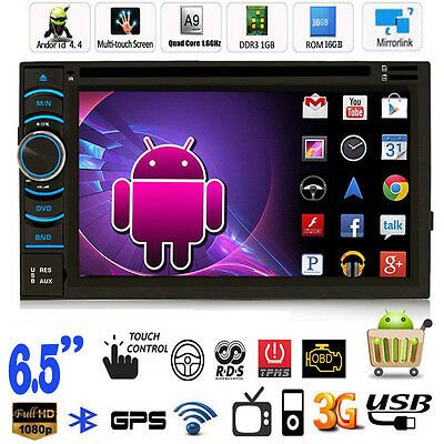 "Android 4.4 Quad Core WiFi 3G 6.5"" HD 2 Din Car GPS Navi DVD Player Radio Stereo"