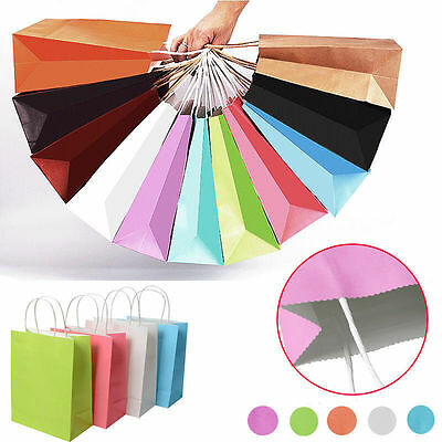 Party Gift Coloured Paper Handles Bags Wedding Birthday Christmas Shopping UP
