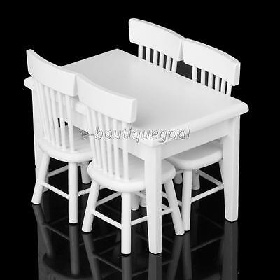 5x Meubles Table Chaise Set Bois Décor 1:12 Dollhouse Maison de Poupée Blanc