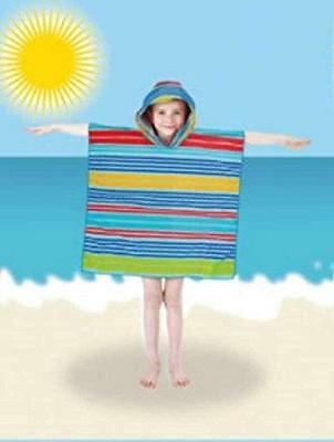 Swimming Pool Kids Velour Beach/ Bath Towel/robe Hooded Poncho For Juniors