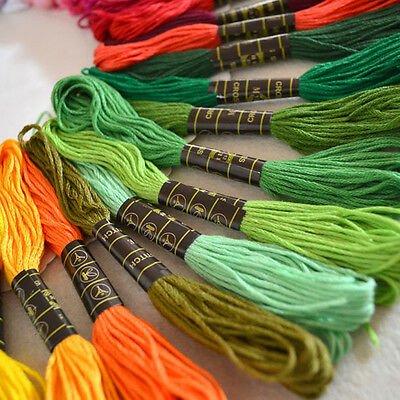 50Pcs Multicolor Cotton Cross Stitch Embroidery Sewing Thread Skein Floss 8m