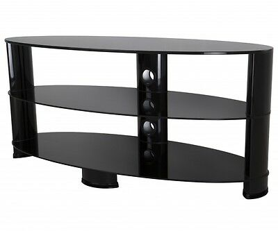 """Gloss Black Glass Oval TV Stand LCD LED Plasma TVs up to 60"""" - 120cm"""