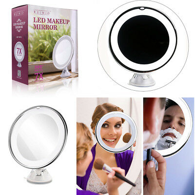 360° Rotating 7x Magnifying Round Illuminated LED Makeup Cosmetic Shaving Mirror