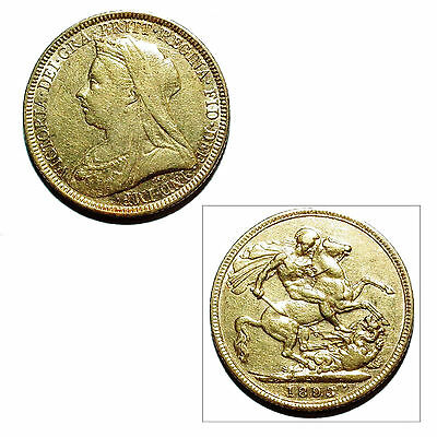 Pre-Owned 1893 Full Sovereign 22ct Gold Coin. Queen Victoria