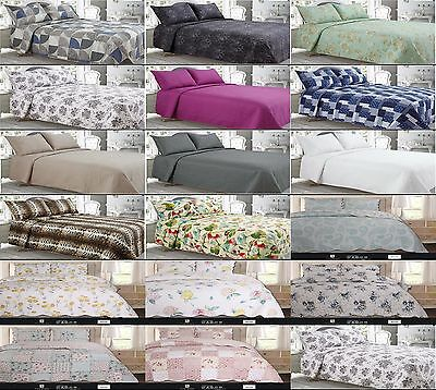 LUXURY QUILTED BED SPREADS inc MATCHING PILLOW CASES. BED SPREAD / COMFORTER