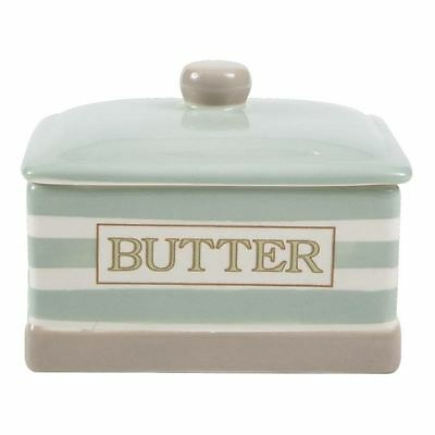 T&G Cream & Country Mint Stripe Covered Butter Dish
